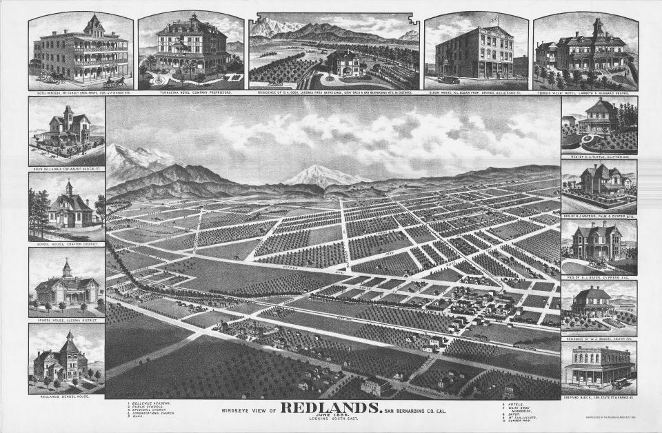 Birdseye View Redlands 1888