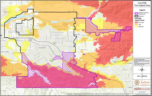 CAL Fire map showing Very High Fire Hazard Severity Zones for City of Redlands.