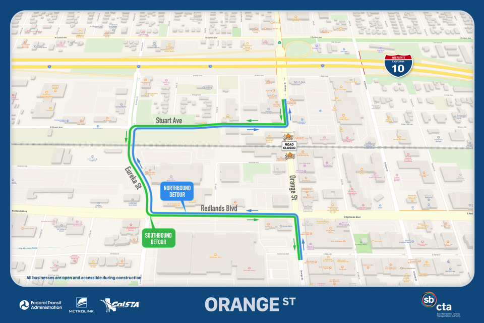A map displays the detour around a section of Orange Streeet that will be closed for paving. The detour goes west on Redlands Boulevard from Orange Street to Eureka; north on Eureka to Stuart; and east on Stuart to Orange Street. Southbound traffic on Orange Street follow this in the other direction, beginning west on Stuart.