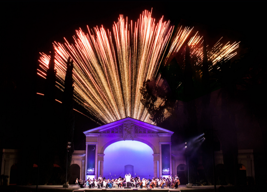 Photo of Redlands Bowl and fireworks