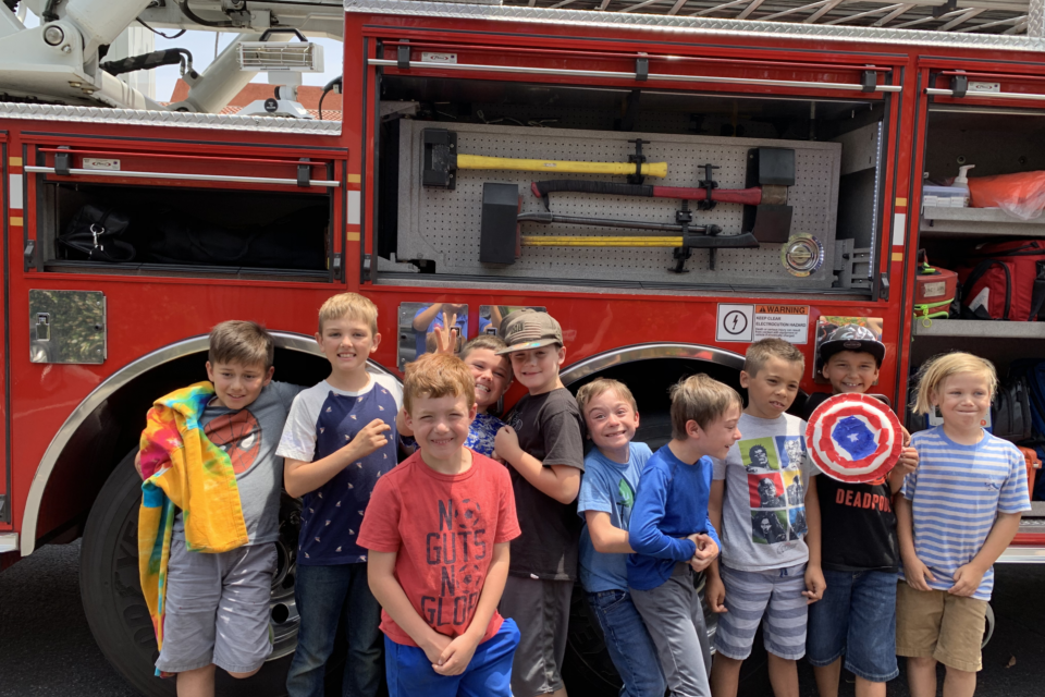 Campers in front of Firetruck