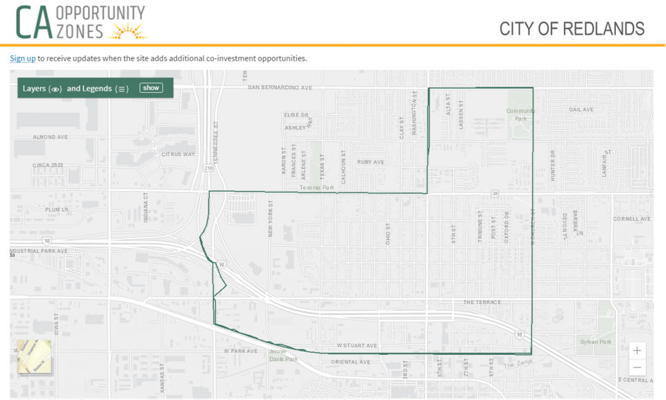map of redlands' opportunity zone