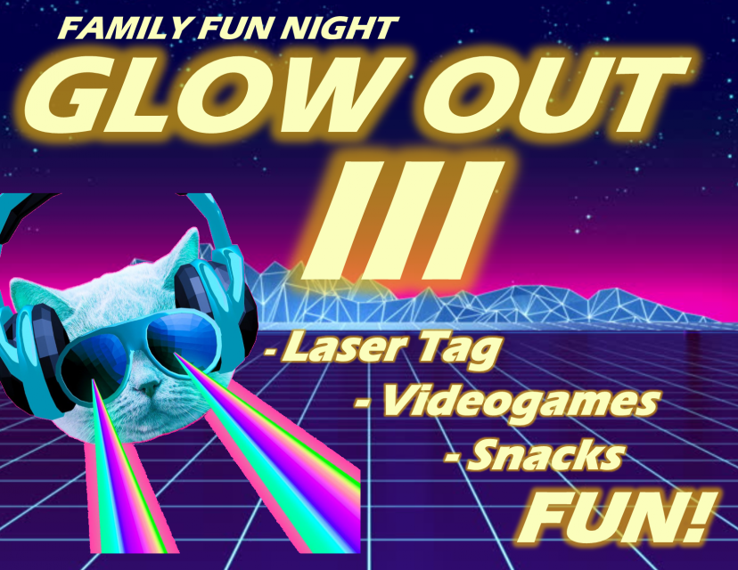 Family Fun Night Glow Out 3 laser tag videogames snacks fun