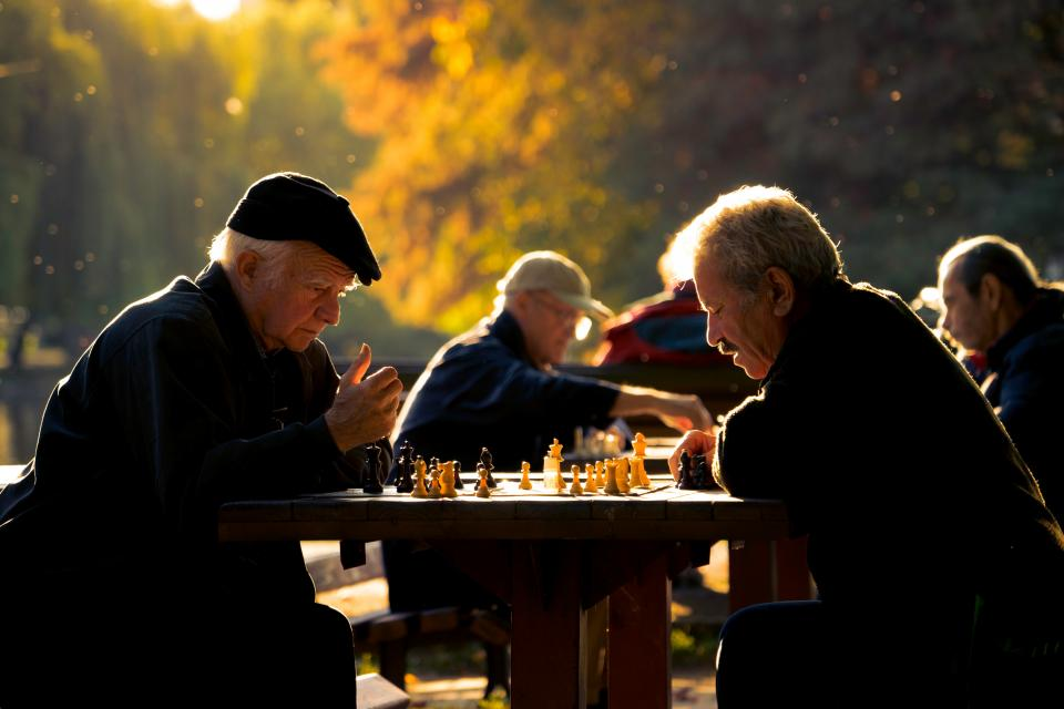 Seniors playing chess