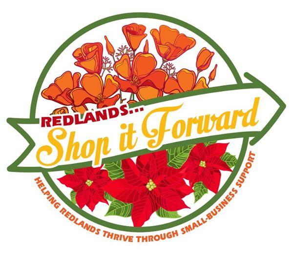 Shop It Forward logo with roses and text saying Helping Redlands Thrive Through Small Business Support